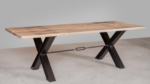Eikenhouten tafel spoorbiels XB73