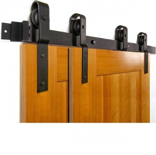 Schuifdeursysteem voor een dubbele deur - railsysteem met hangrollen - 200 cm breed