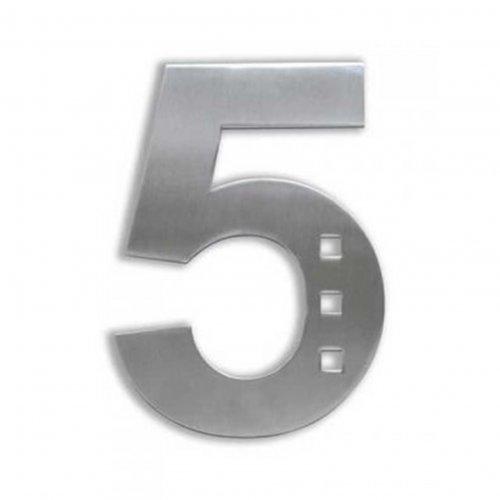 Huisnummer van geborsteld RVS met openingen 15cm nummer 2
