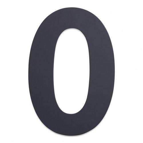 Huisnummer van geborsteld RVS antraciet 25cm nummer 0