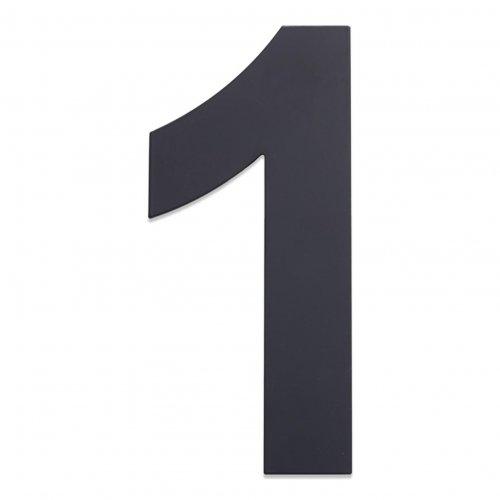 Huisnummer van geborsteld RVS antraciet 25cm nummer 1
