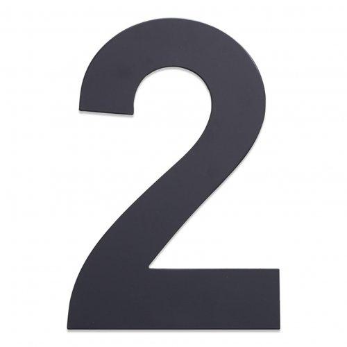 Huisnummer van geborsteld RVS antraciet 25cm nummer 2