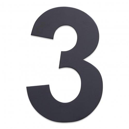 Huisnummer van geborsteld RVS antraciet 25cm nummer 3