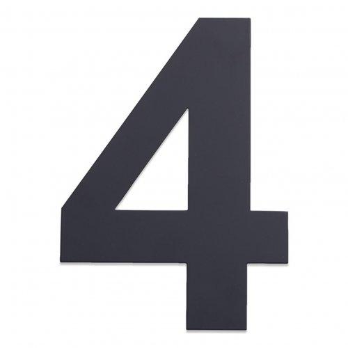 Huisnummer van geborsteld RVS antraciet 25cm nummer 4
