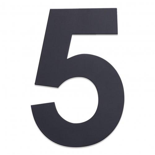 Huisnummer van geborsteld RVS antraciet 25cm nummer 5