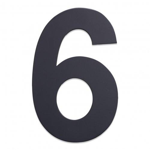 Huisnummer van geborsteld RVS antraciet 25cm nummer 6