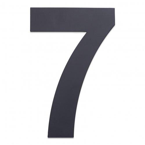 Huisnummer van geborsteld RVS antraciet 25cm nummer 7