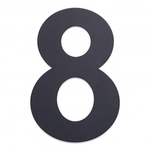 Huisnummer van geborsteld RVS antraciet 25cm nummer 8
