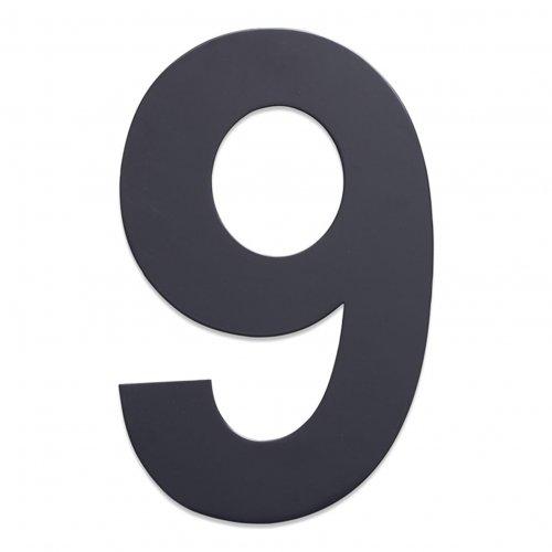 Huisnummer van geborsteld RVS antraciet 25cm nummer 9