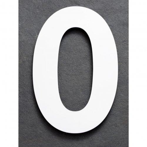 Huisnummer van geborsteld RVS wit 15cm nummer 0