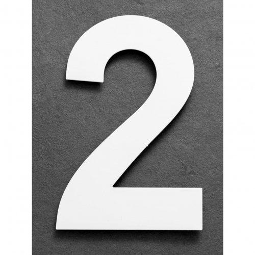 Huisnummer van geborsteld RVS wit 15cm nummer 2
