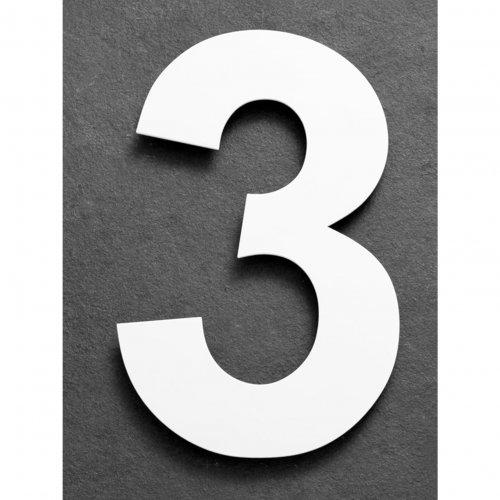 Huisnummer van geborsteld RVS wit 15cm nummer 3