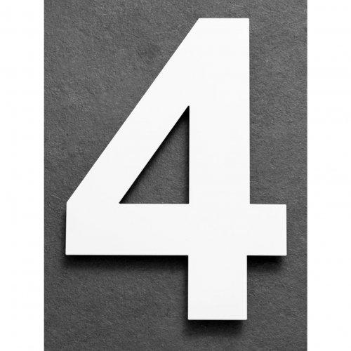 Huisnummer van geborsteld RVS wit 15cm nummer 4