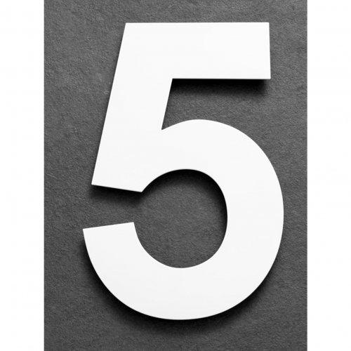 Huisnummer van geborsteld RVS wit 15cm nummer 5