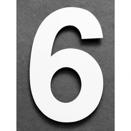 Huisnummer van geborsteld RVS wit 15cm nummer 6