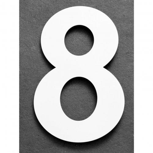 Huisnummer van geborsteld RVS wit 25cm nummer 8