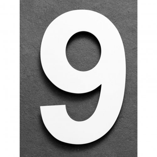 Huisnummer van geborsteld RVS wit 25cm nummer 9