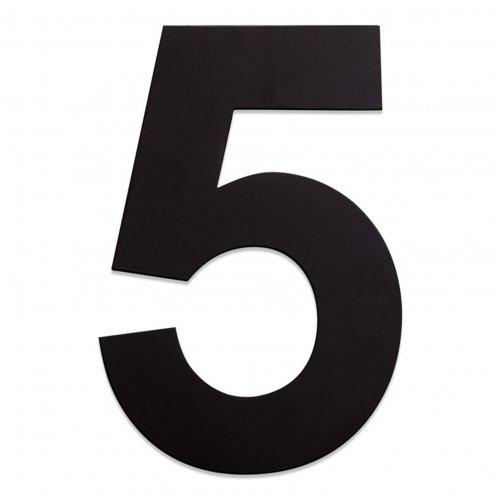 RVS huisnummer zwart 5
