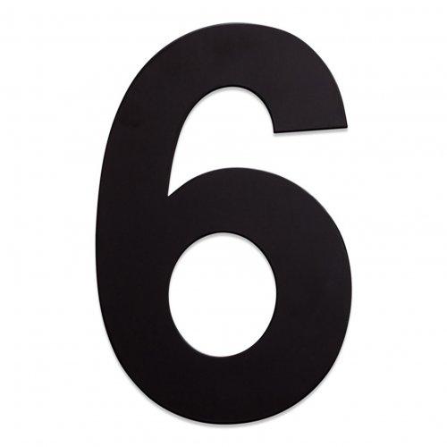 RVS huisnummer zwart 6
