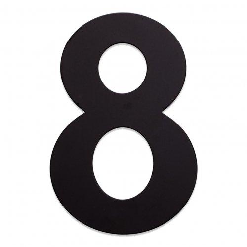 RVS huisnummer zwart 8