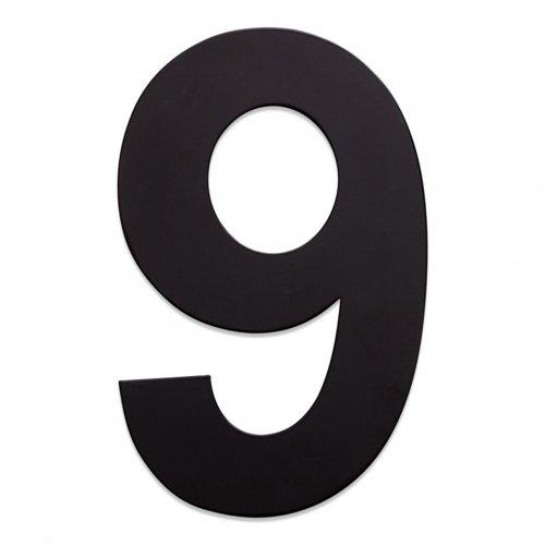 RVS huisnummer zwart 9