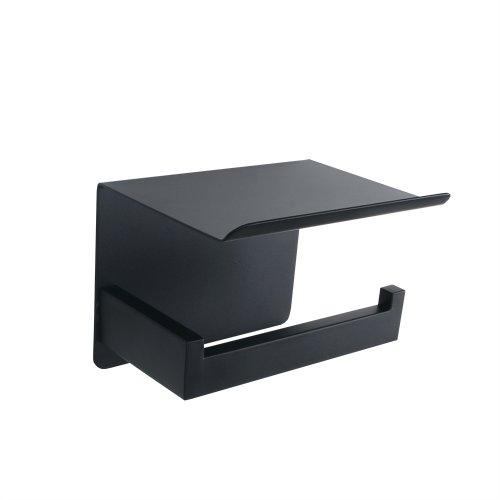 Toiletrolhouder Zwart met Telefoonhouder - Zonder boren - wc-rol houder - mobiele telefoonhouder