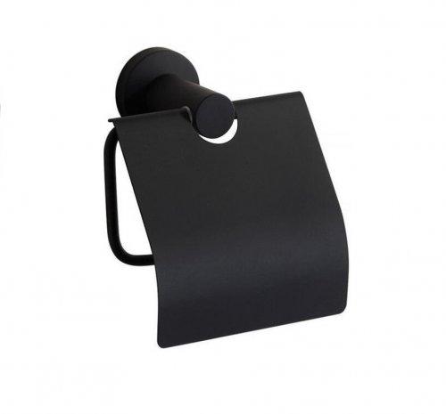 Toiletrolhouder Zwart met klep – wc-rol houder